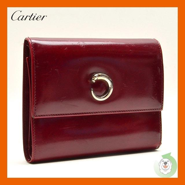 Cartier卡地亞 美洲豹 波爾多酒紅色三折皮夾錢包