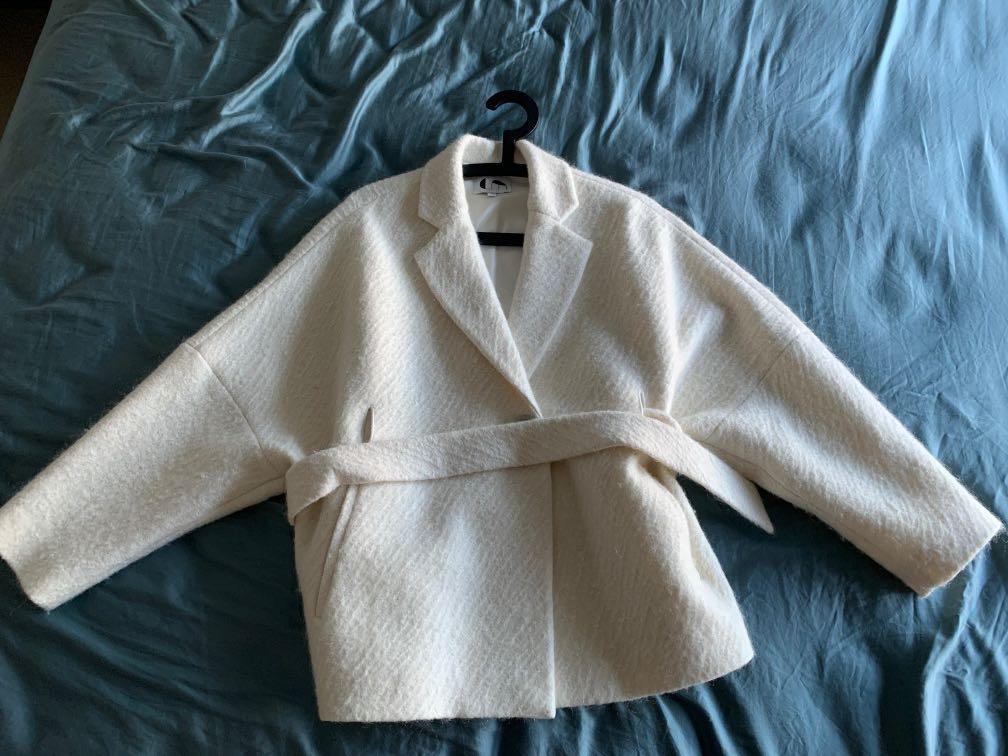 COMME MOI白色羊毛外套,9成新