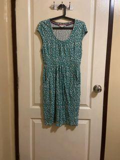 Cotton Garterized Green Dress with pockets