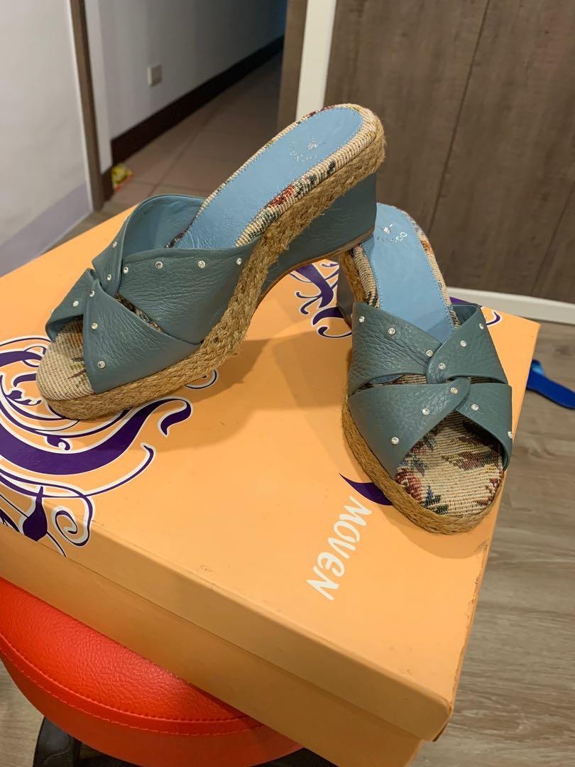 DK 氣墊鞋編織卯釘楔型拖鞋/23.5