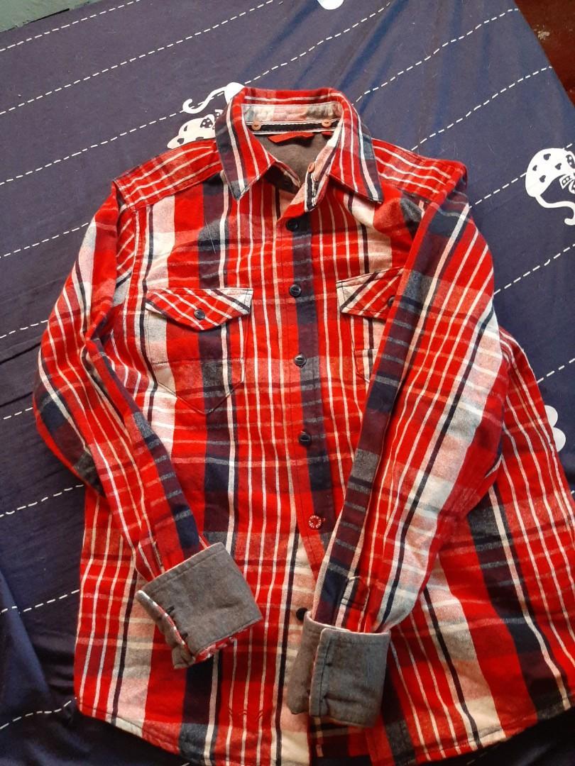 EDWIN 紅白格挺版長袖復古鄉村風襯衫