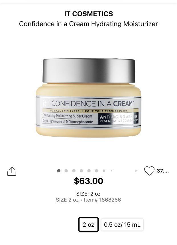 It cosmetic confidence in a cream
