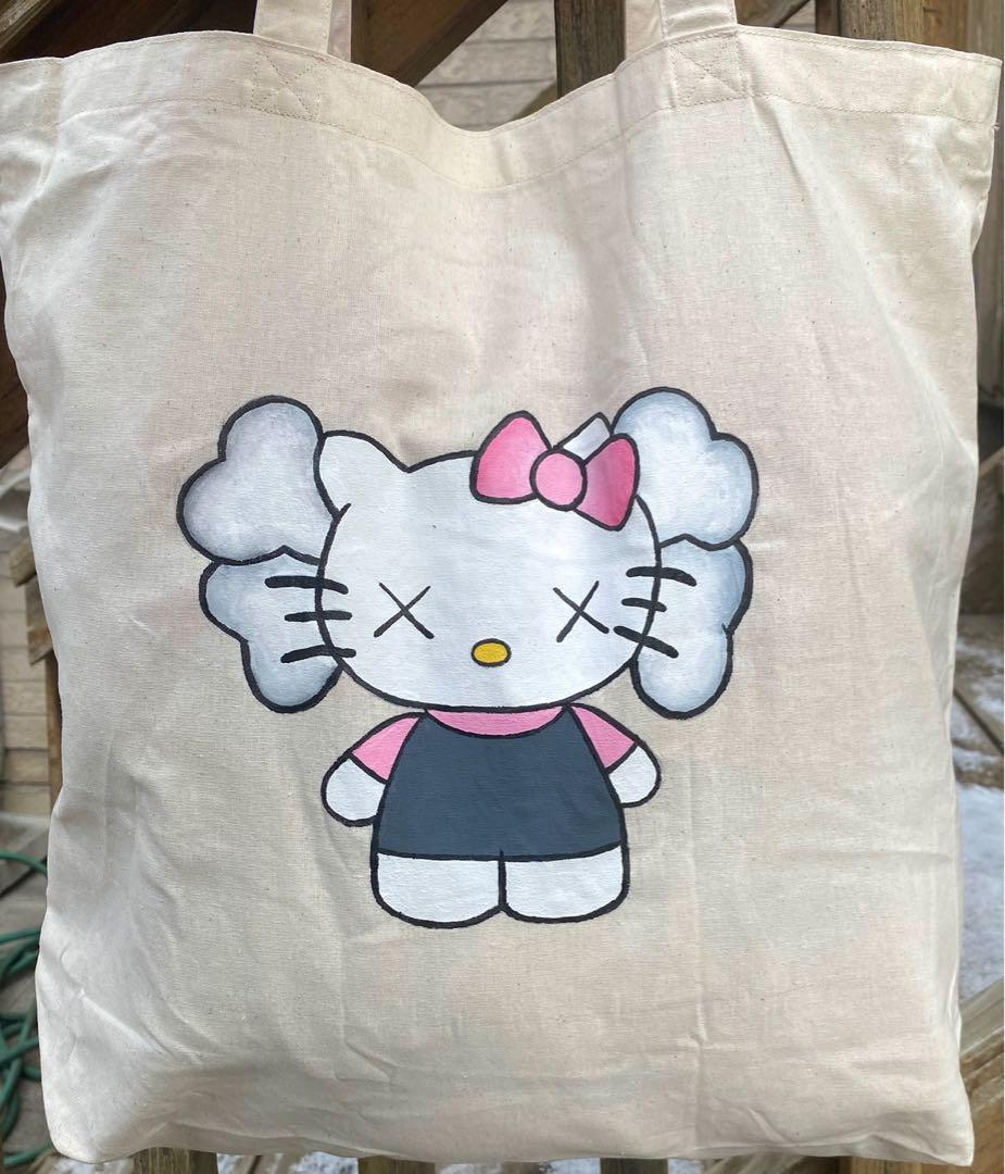 Kaws inspired Hello Kitty hand painted tote bag