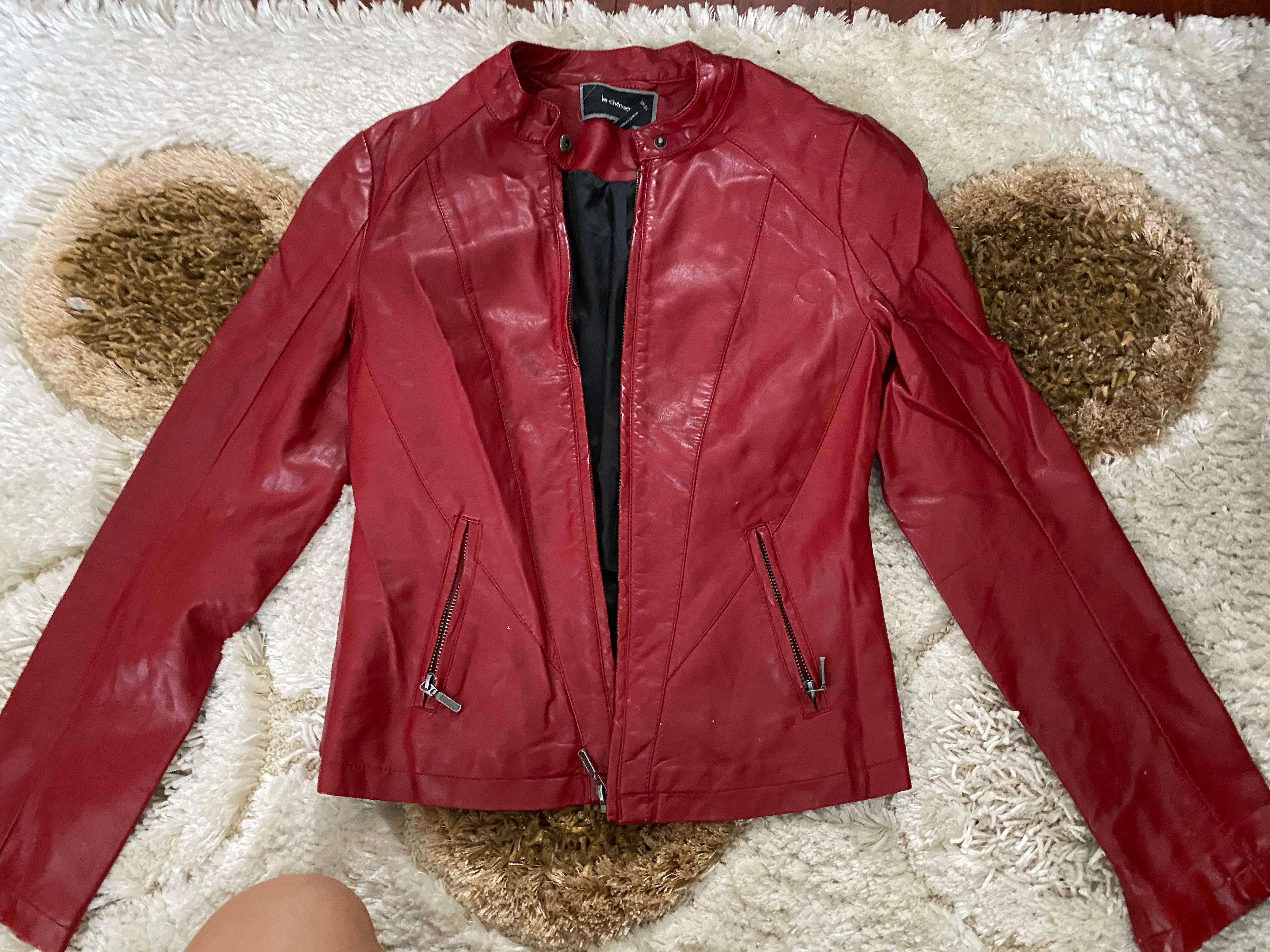 Le Chateau red leather jacket