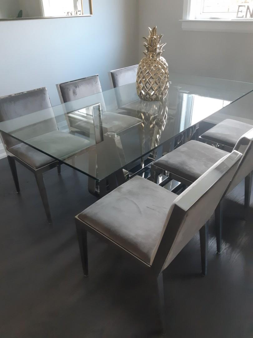 DINING TABLE MODERN CLASS AND CHROME TABLE WITH SIX CHAIRS