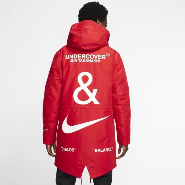 NIKE X UNDERCOVER Red 3-Layer Fishtail 男子大衣
