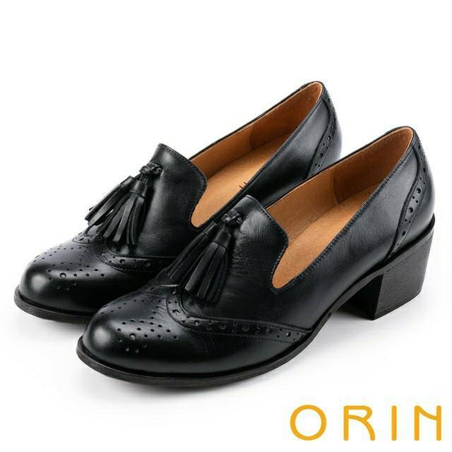 ORIN 流蘇雕花牛皮樂福鞋/黑色/6號/專櫃品牌