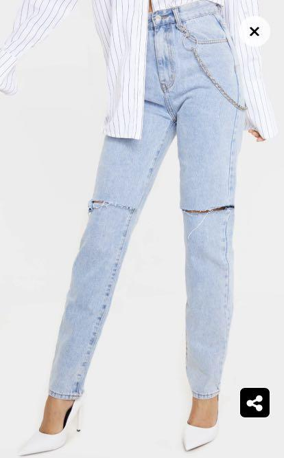 PLT Blue Wash Straight Leg Jean