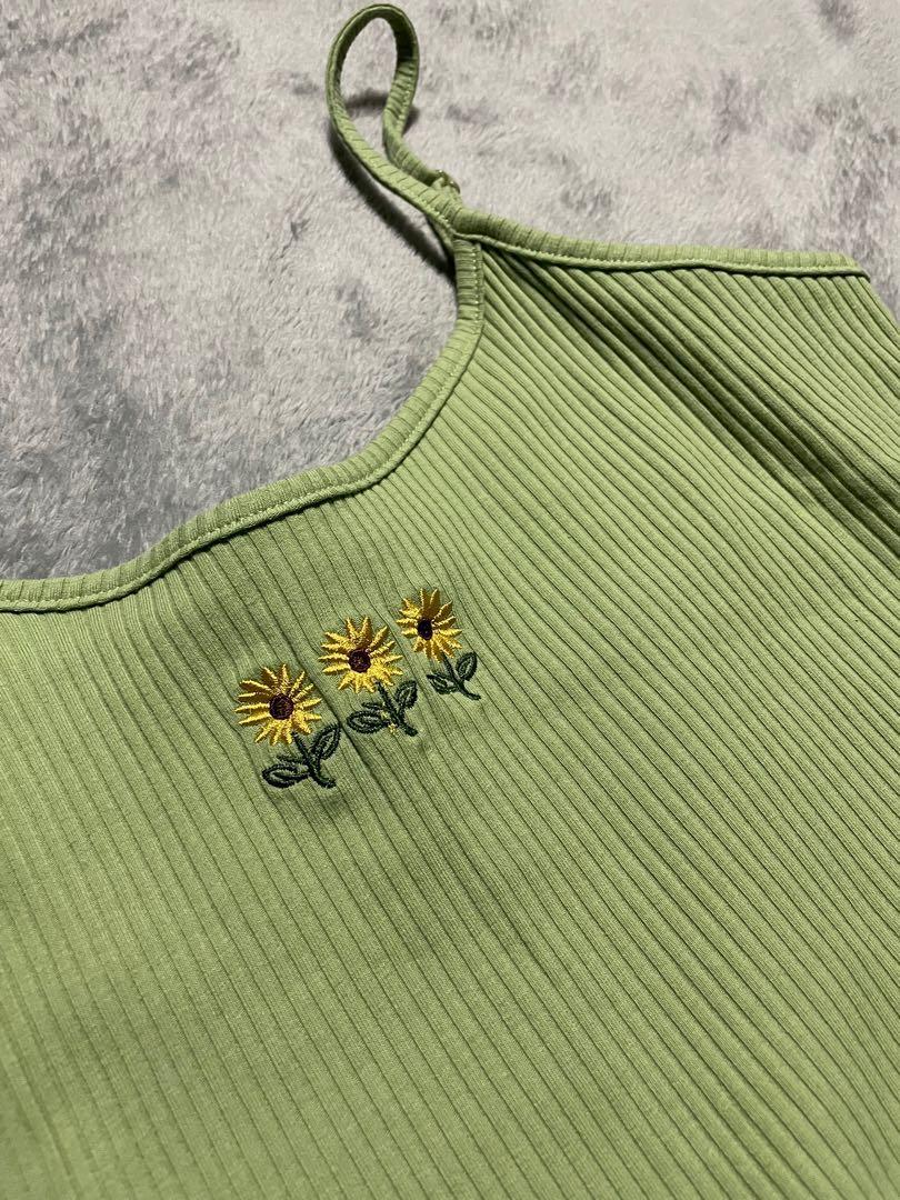 SHEIN綠色背心 刺繡小花