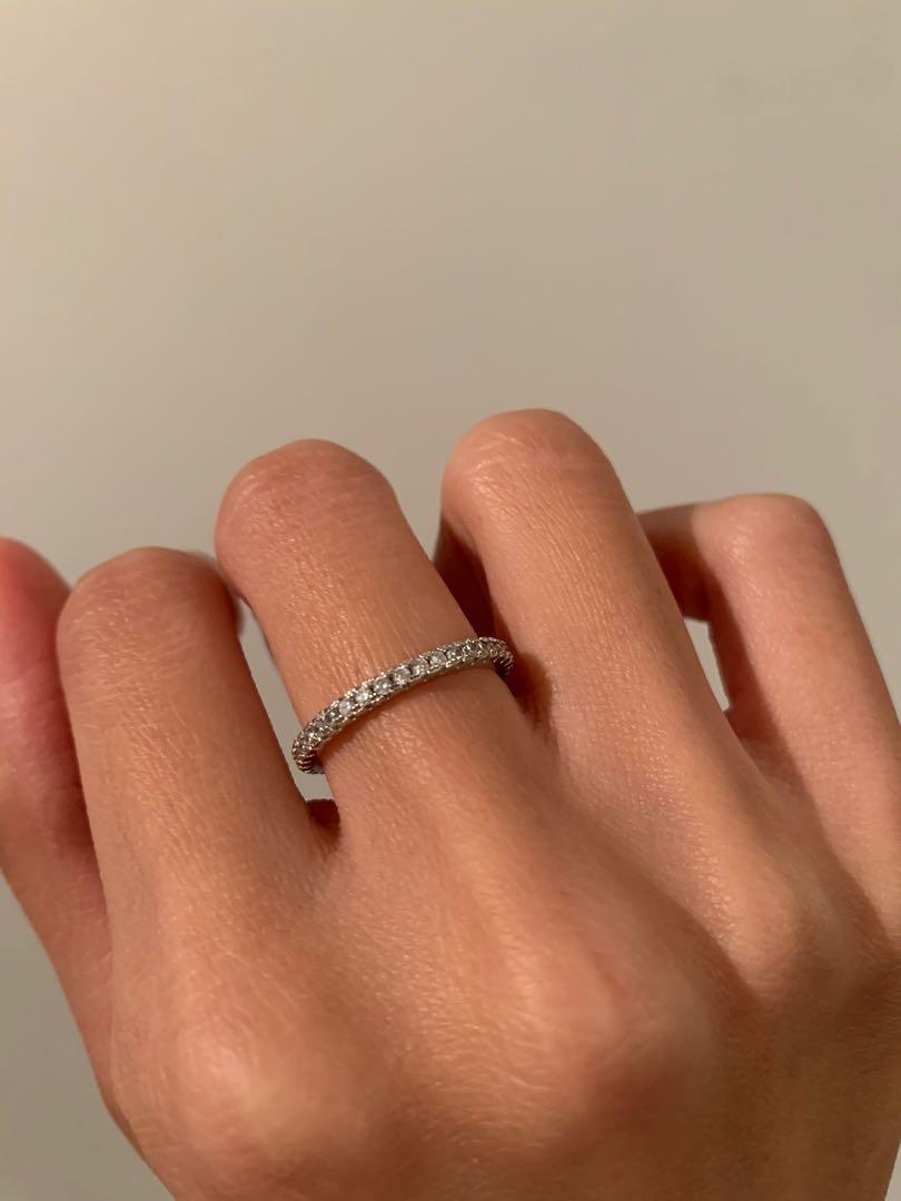 Thin Sterling Silver CZ Ring