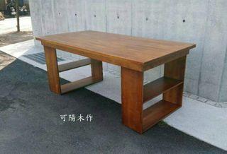 【可陽木作】原木U型腳層架桌(深柚木色) / U型腳木桌 / 柚木色餐桌 / 會議桌 / 造型桌 / 客製木桌 / 茶几