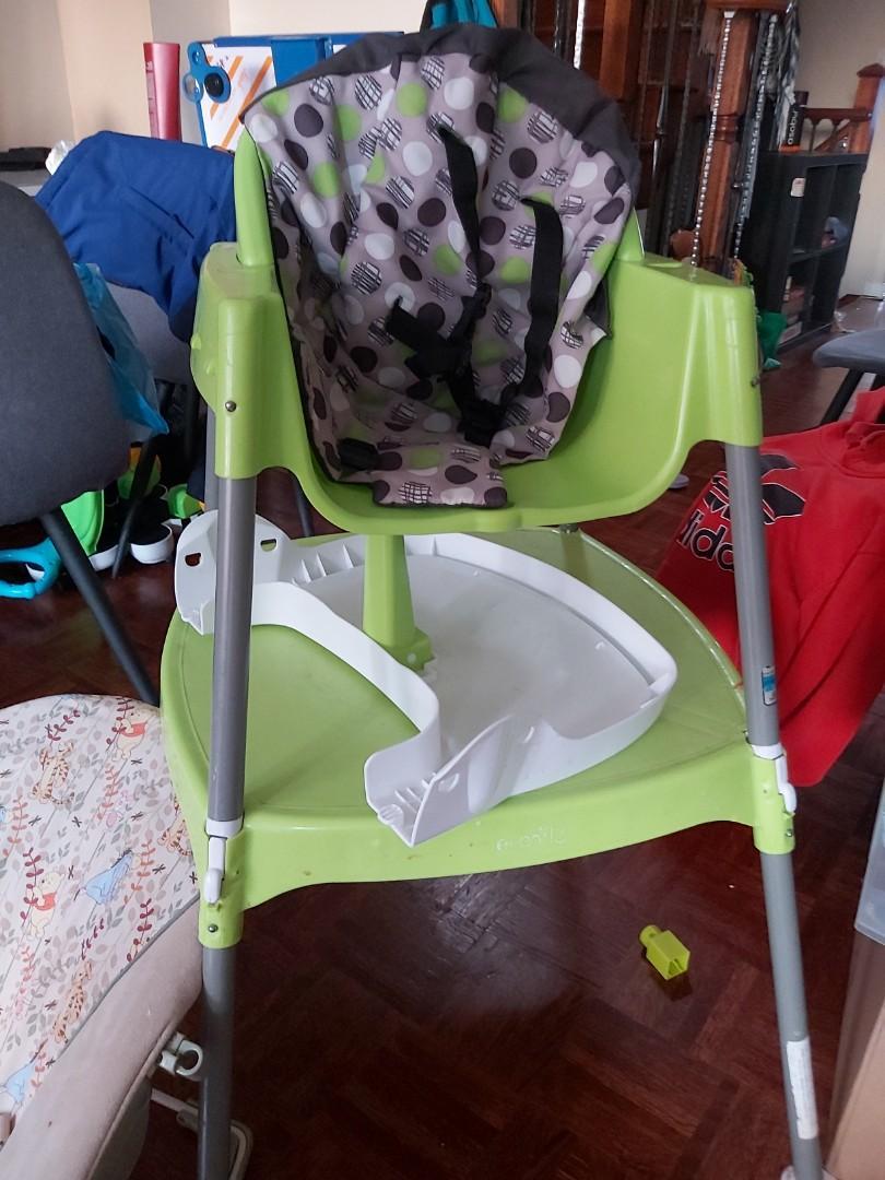 Green High Chair Detachable Chair Table Underneath