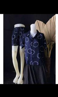 Set Piyama Kemeja Celana Pendek Tie Dye Shibori