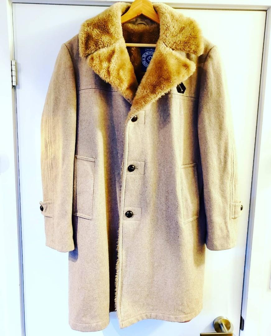 Vintage Rare 70's Sears The Men's Store Faux Fur & Wool Trench Coat