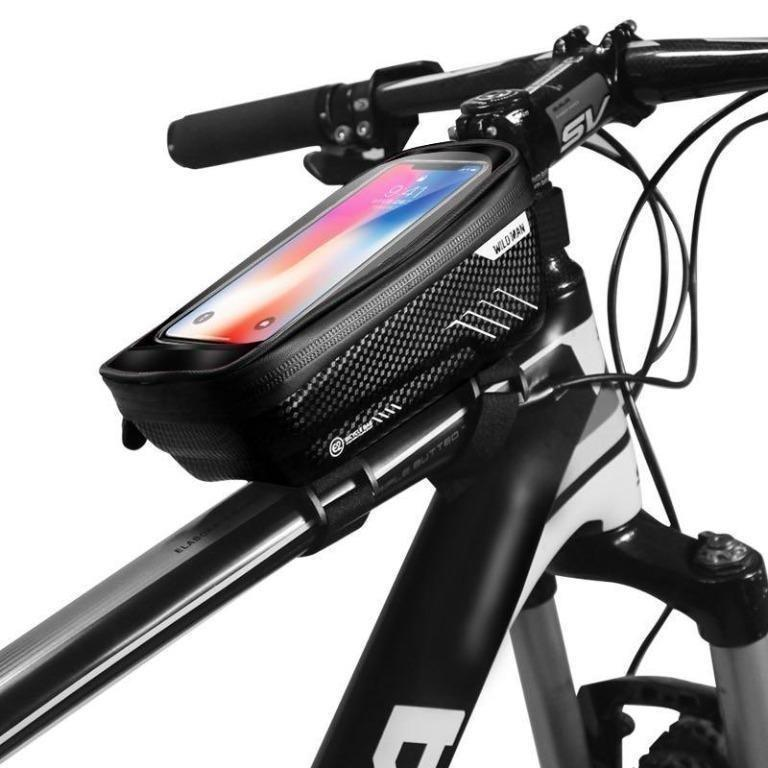 Waterproof MTB Mountain Bike Frame Front Bag Pannier Bicycle Phone Stand Holder
