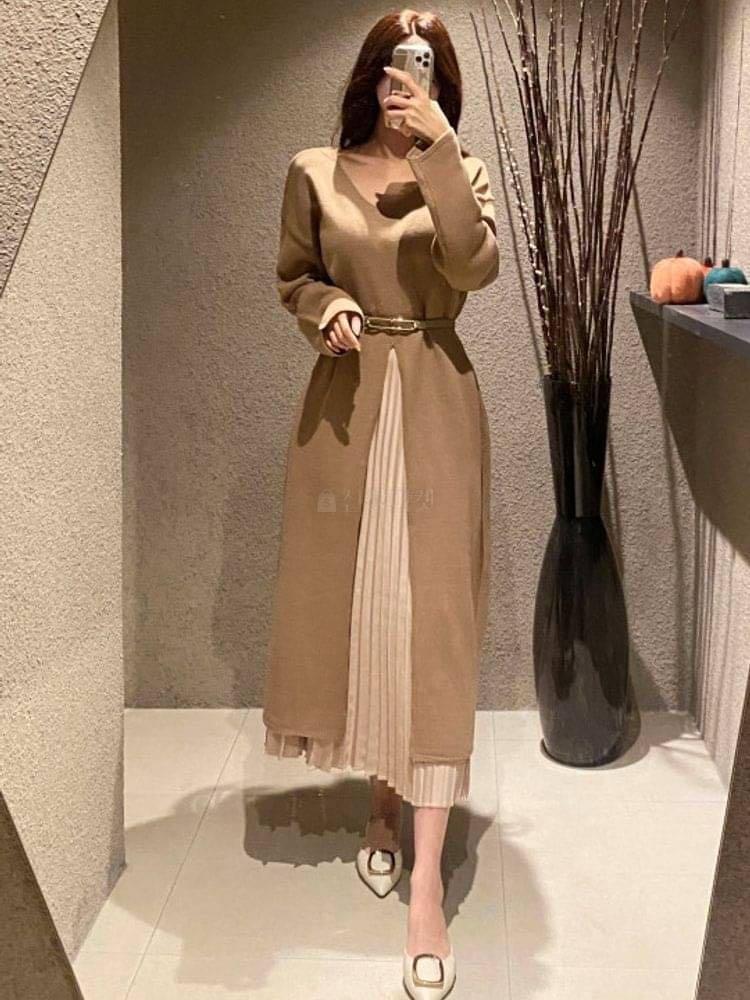正韓洋裝   設計感針織V領開叉洋裝