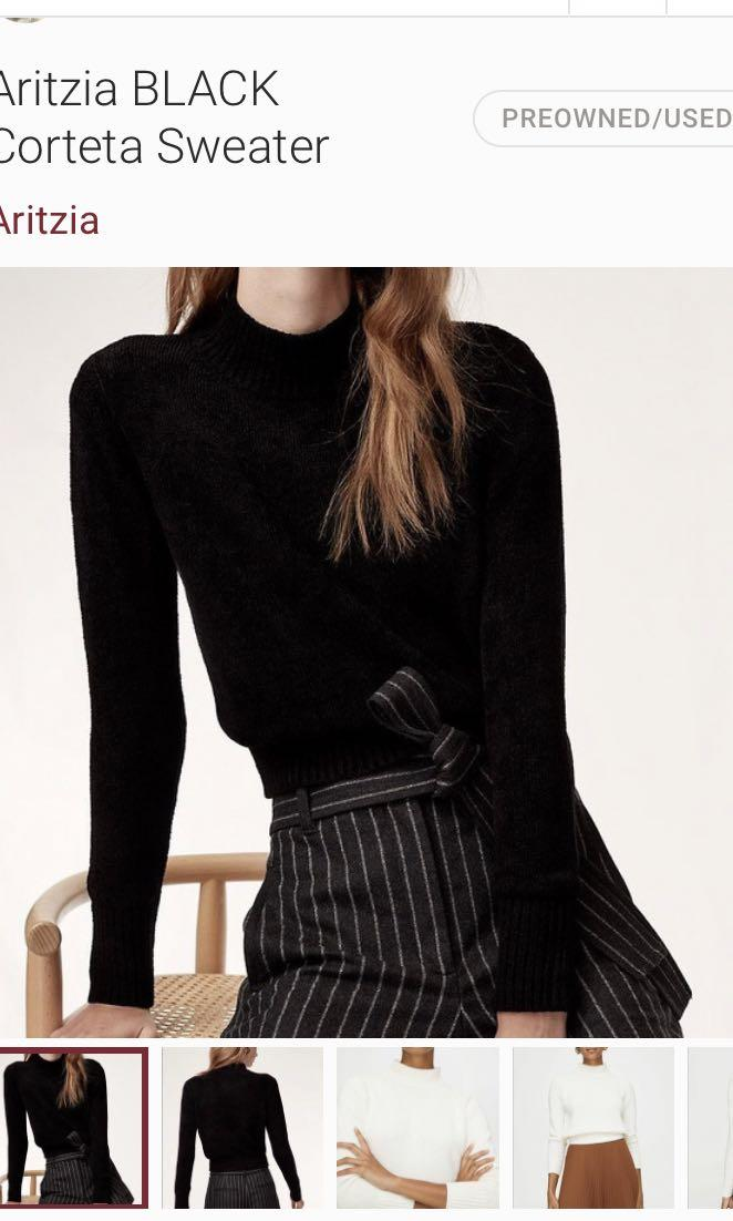 Aritzia Wilfred corteta knit crop turtleneck BLACK size SMALL