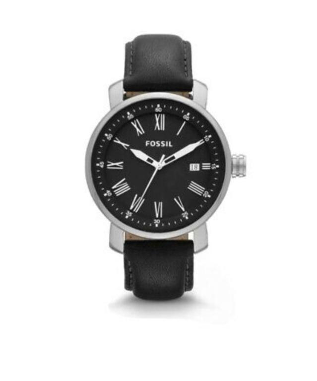 Authentic Fossil Men's Watch Black Leather Strap