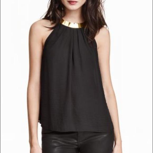 black halter satin top with gold detail