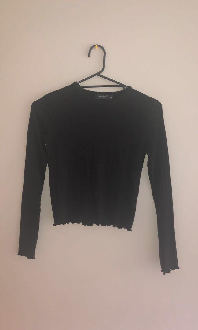 Glassons black ribbed top
