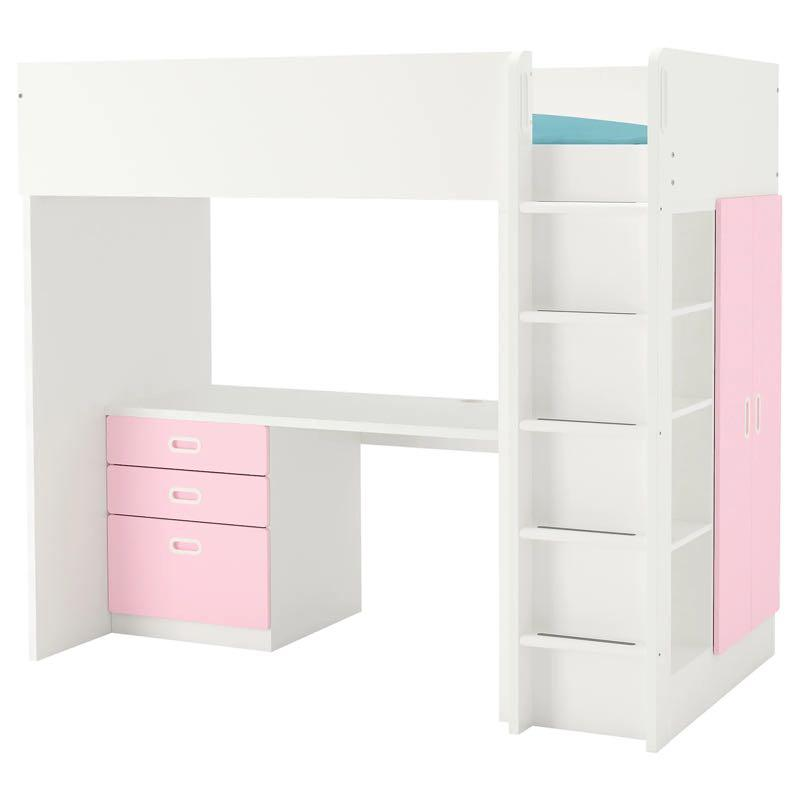 Ikea Stuva bunk bed with desk white/pink