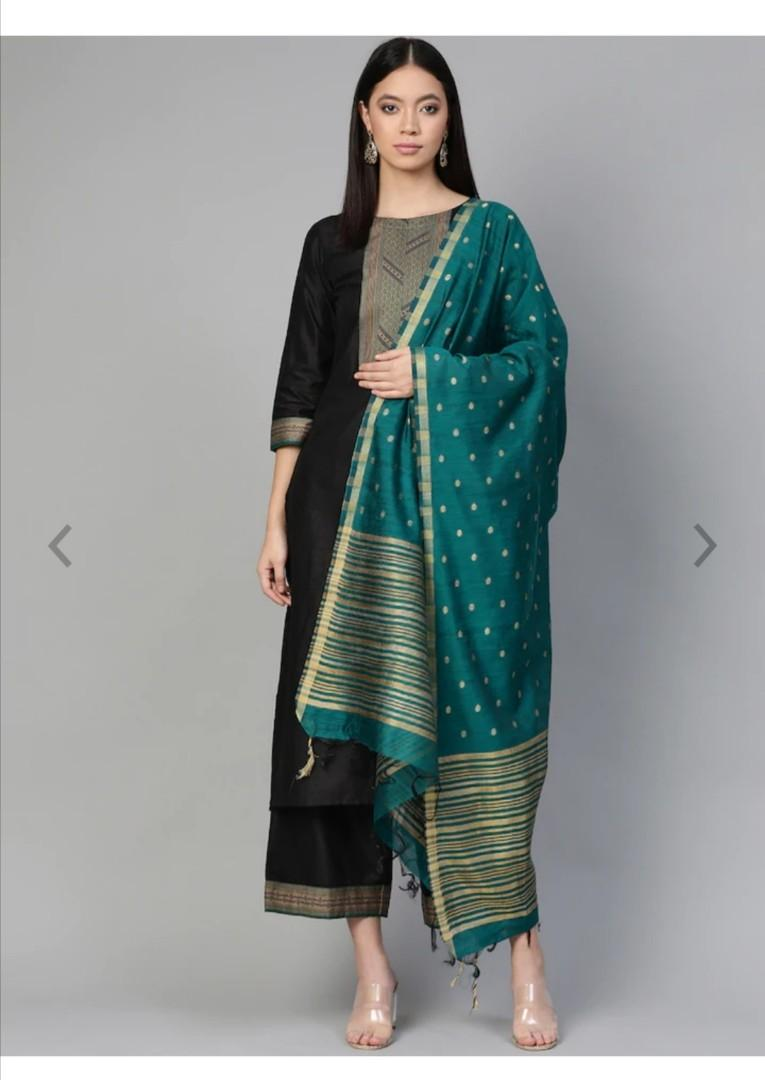 Indo Era Women Black & Teal Blue Yoke Design Kurta with Palazzos & Dupatta, Product Code: 12122358