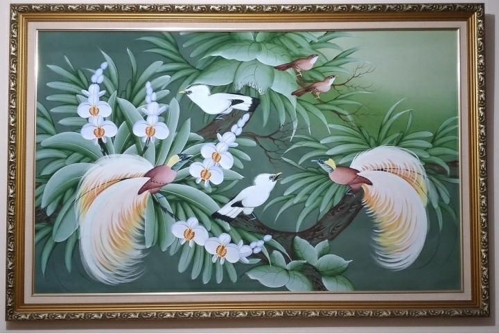 Lukisan Burung Jalak Bali + Bingkai