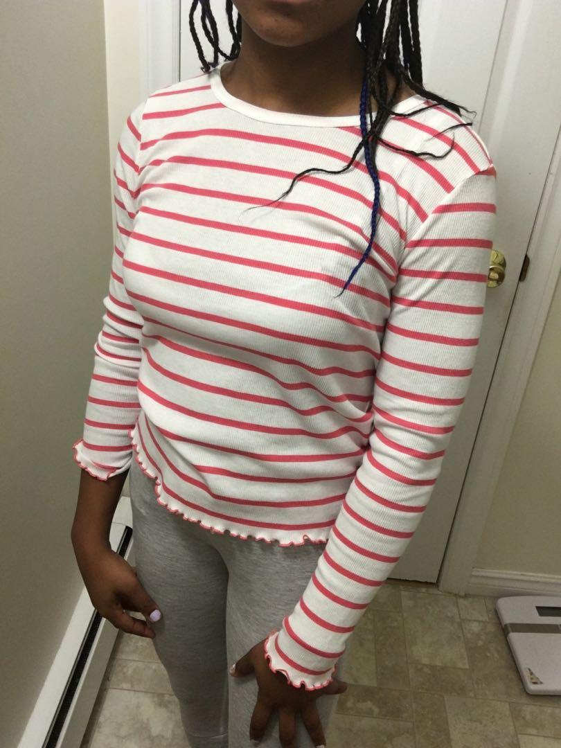Pink and white top long sleeve