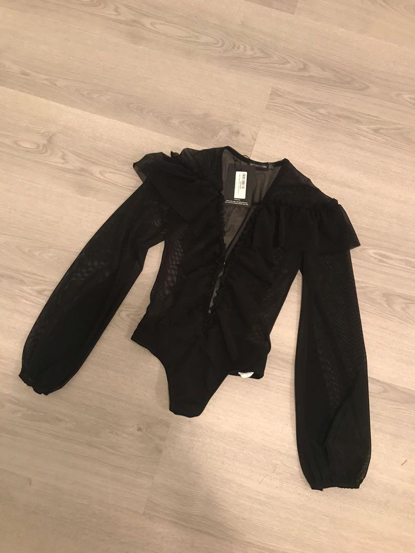 Pretty Little Thing PLT Black Bodysuit