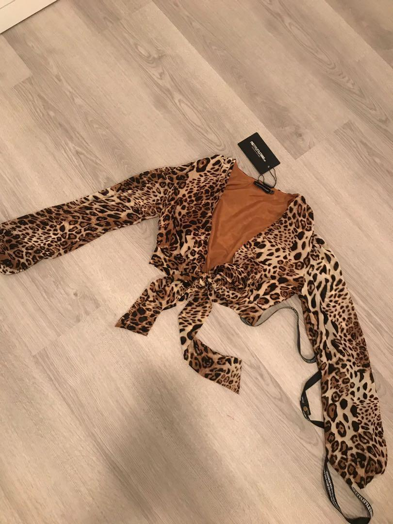 Pretty Little Thing PLT Cheetah Tie Top
