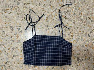 THE EDITOR'S MARKET Checkered Crop Top (SIZE M)