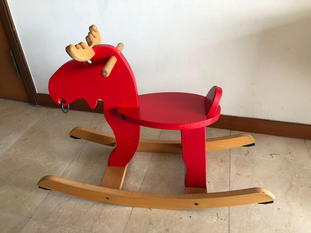 Wooden Rocking Horse Moose Babies Kids Toys Walkers On Carousell