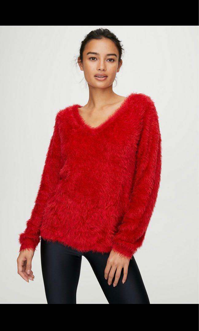 XS Aritzia Wilfred fuzzy red v-neck sweater