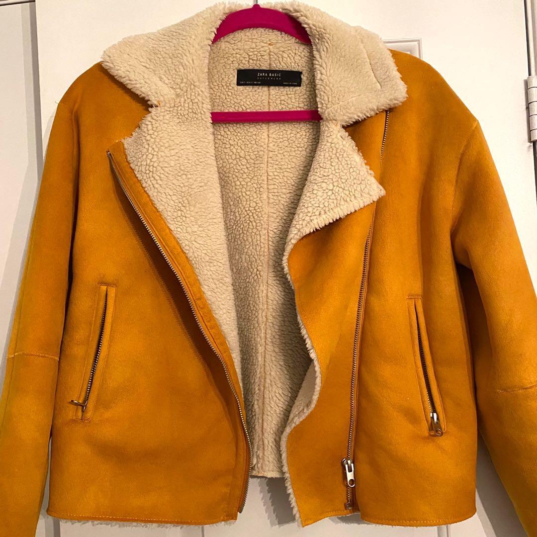 Zara fur yellow jacket
