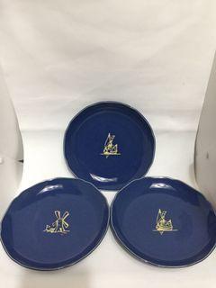 3pcs. blue plate set