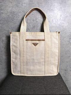 【♥ 琳琳私物 ♥】PRADA ◌ 米色帆布手提包