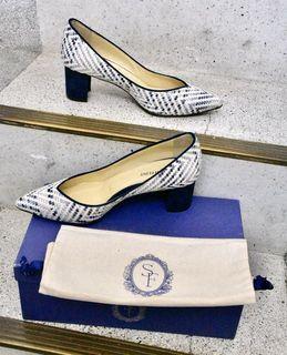 絕版!美國Sarah Flint Perfect Emma 5公分粗跟高跟鞋 -藍白編織款 尖頭高跟鞋 上班高跟鞋 (梅根王妃) #2020掰掰