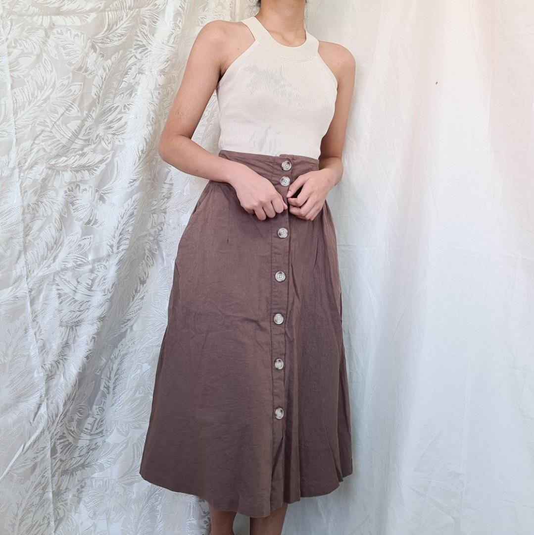 Linen Button Front Skirt ~ Thick soft maxi skirt size S  M High Waist women/'s clothing