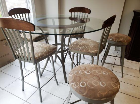 Glass high top kitchen table with stools
