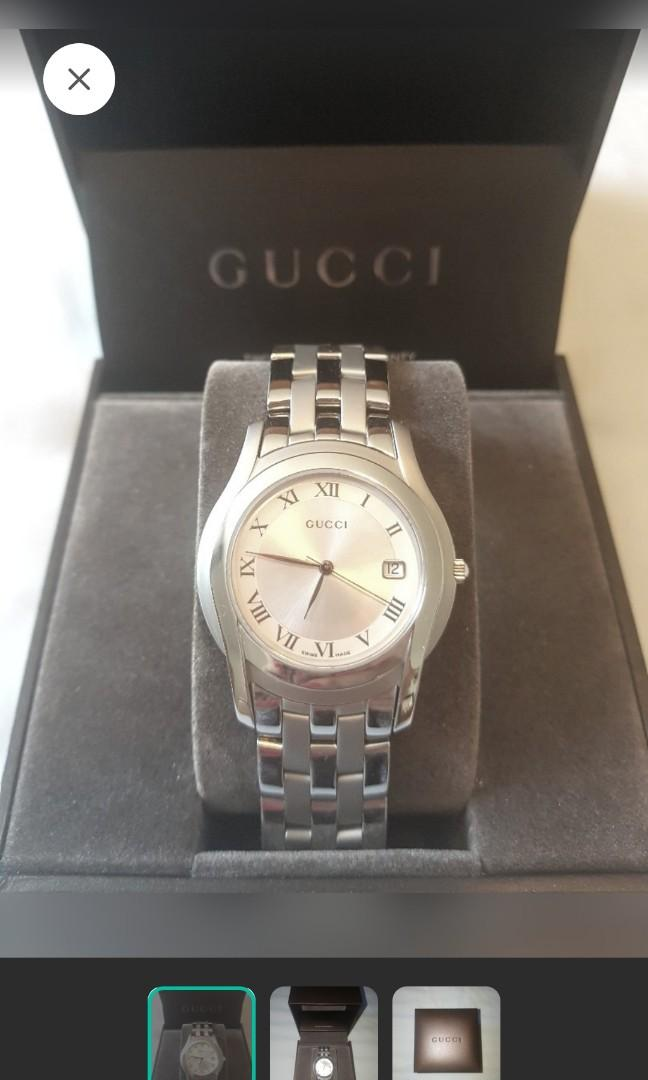 NEW, GUCCI mens stainless steel link watch