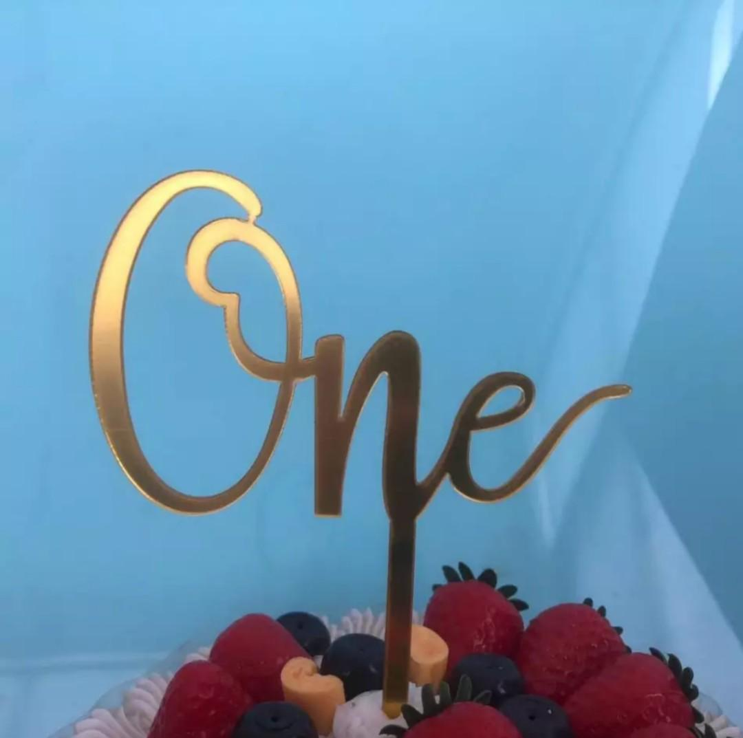 """""""One"""" Acrylic Cake Toppers"""