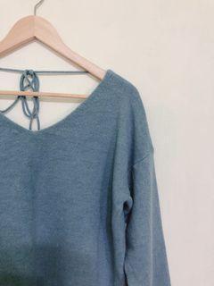 首爾購入 灰藍親膚針織綁帶毛衣