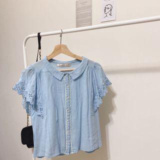 日系品牌 marry go around 粉藍色襯衫