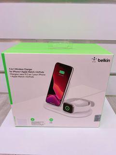 BELKIN-三用無線充電座(白)-iPhone、Apple Watch、AirPods (全新未拆)