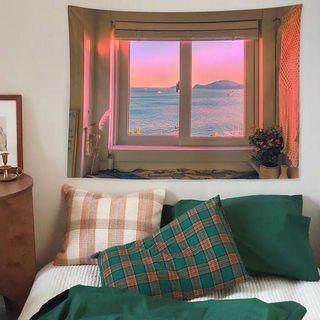 小預算佈置術北歐海邊景色裝飾牆壁掛布壁畫直播背景微裝潢IG風網紅拍照