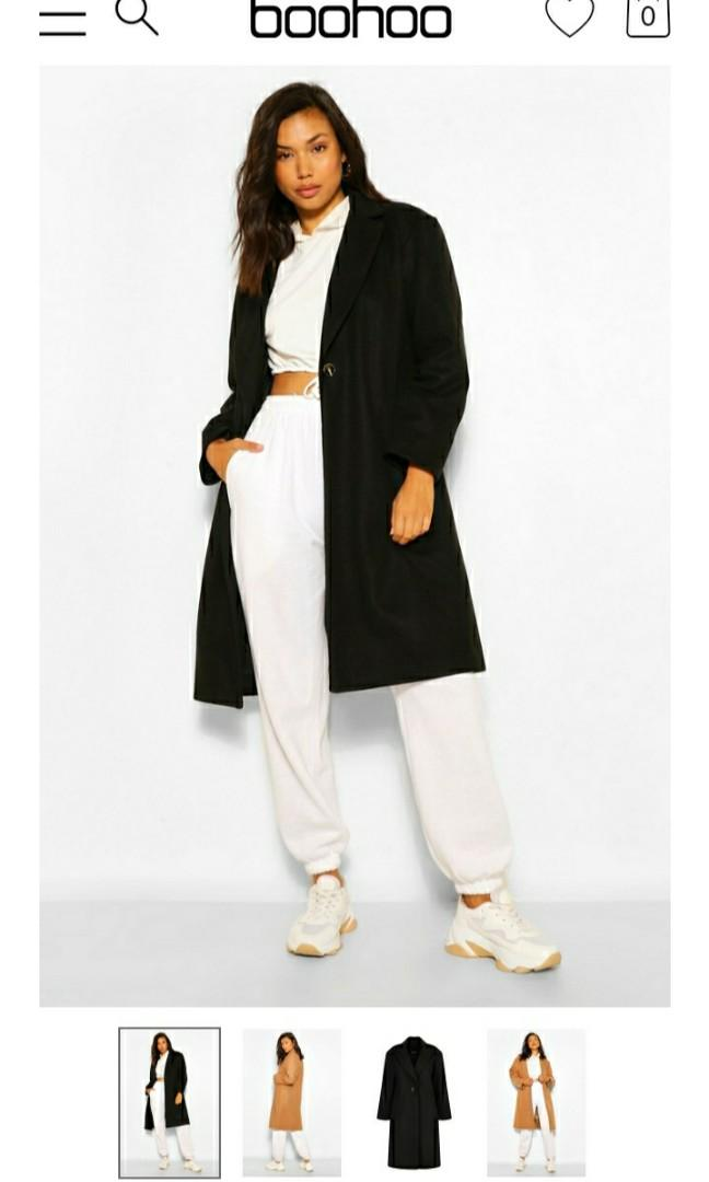 Luxe brushed wool look tailored coat