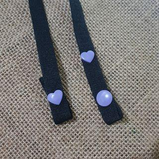 BTS/Borahae-inspired Strap/Lanyard for Face Mask with purple hearts snap buttons
