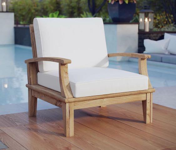 Teak wood armchair with cushions - NEW