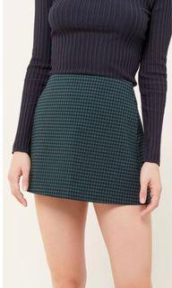 Urban Outfitters green gingham mini skirt