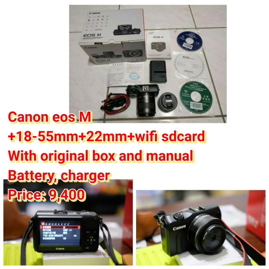 Canon eos M +18-55mm+22mm+wifi sdcard